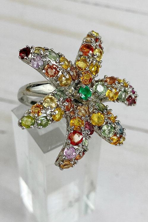 GENUINE Fancy Sapphire Emerald Fine Jewelry Ring Size 7 in 925 Sterling Silver