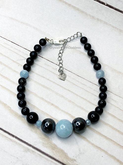 Shungite Bracelet EMF Protection 925 Silver Design #3