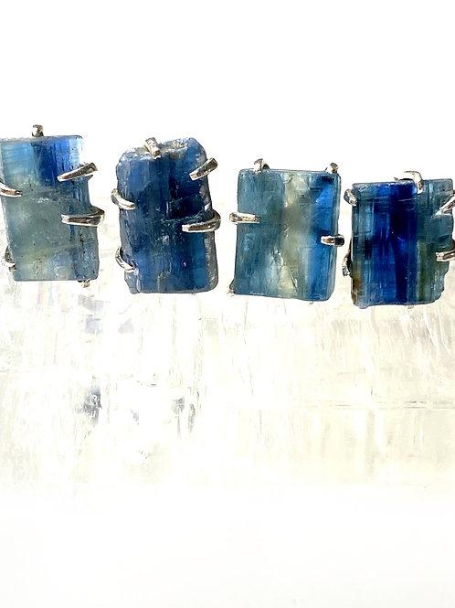 Blue Kyanite Earrings Rough 925 Sterling Silver