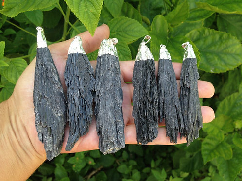 Rough Black Kyanite Pendant. Stunning Large Size