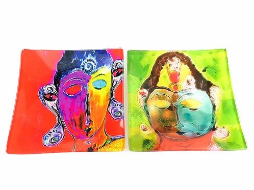 Abstract Buddha Glass Art Plates