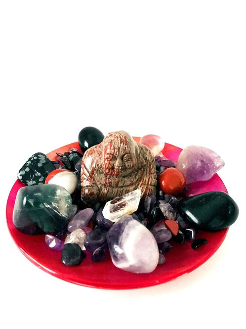 Red Wave Buddha Crystal Altar Center Piece
