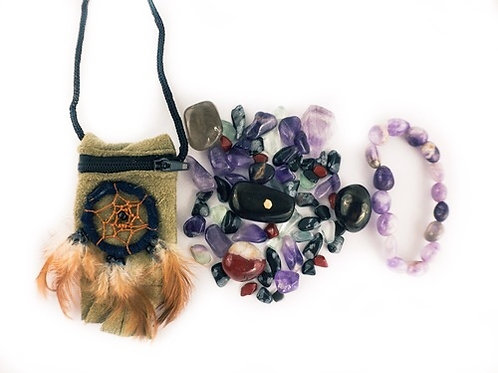 Protection Crystal Healing Pouch PLUS Amethyst Bracelet
