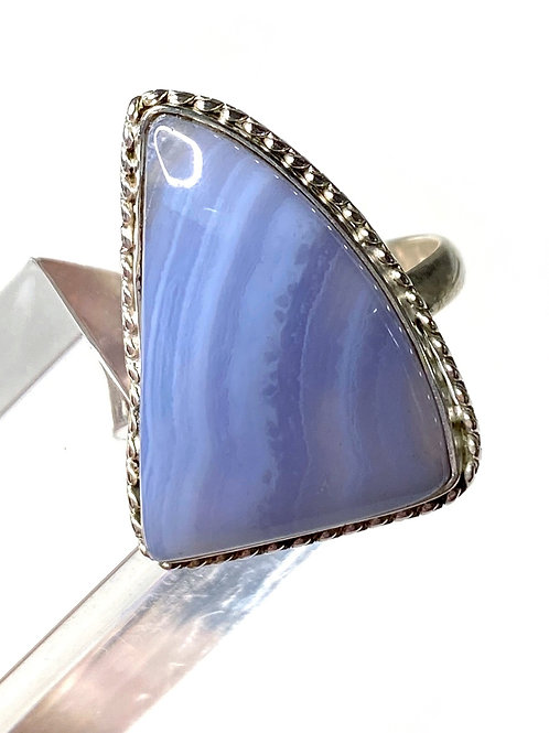 Blue Lace Agate Ring 925 sterling Silver Size 8