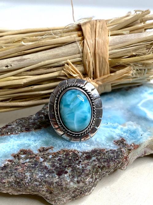 Genuine Larimar Ring 925 Sterling Silver Size 5.5