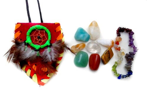 Prosperity Crystal Pouch Plus Chakra Bracelet