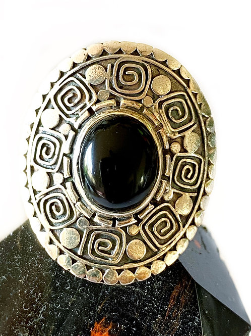 Black Onyx Ring 925 Sterling Silver Size 6