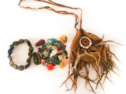 Prosperity Crystal Medicine Indian Pouch + Tiger Eye Bracelet