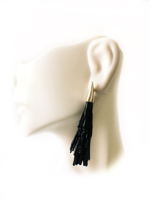 Black Kyanite Earrings 925 Sterling Silver
