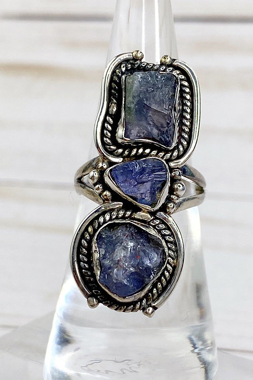 Tanzanite triple Ring Genuine 925 Silver Size 6.5
