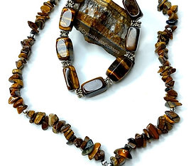 Tiger Eye Necklace Bracelet Jewelry Set