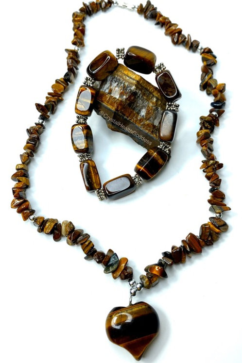 Tiger Eye Necklace Bracelet Jewelry Set