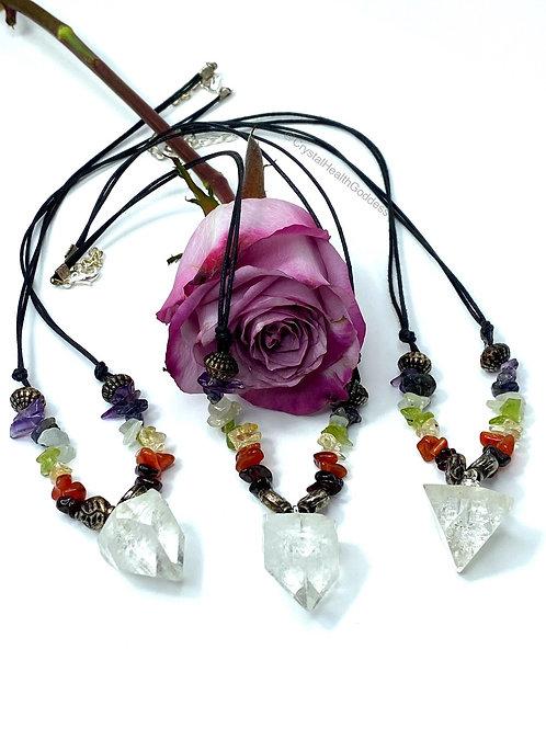 Apophyllite Pyramid Gemstone Chakra Necklace
