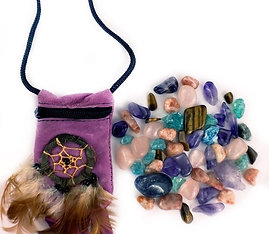 Weight Loss Support Crystal Healing Pouch PLUS Rose Quartz Bracelet