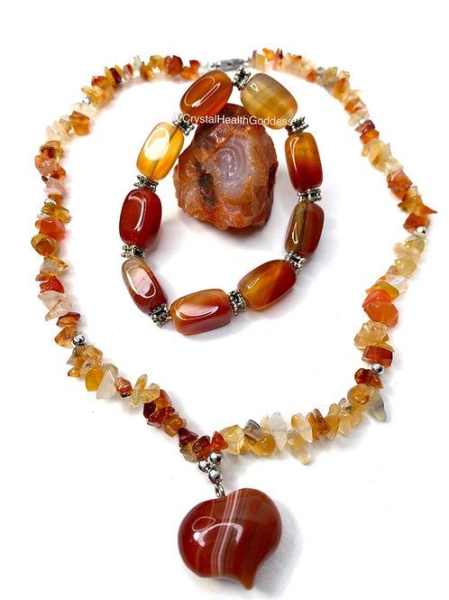 Carnelian Necklace Bracelet Jewelry Set