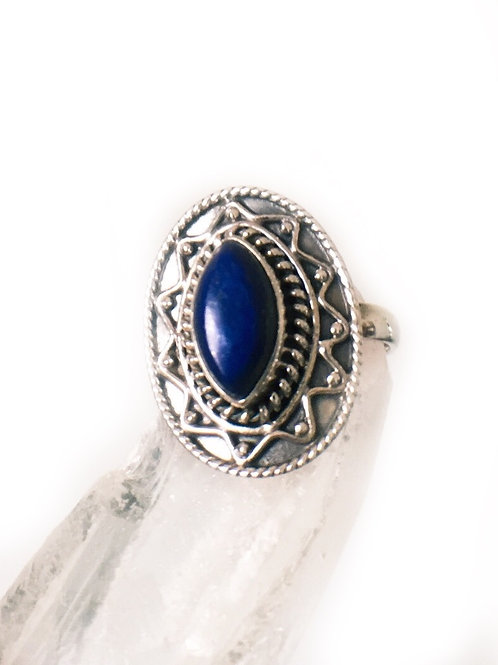 Lapis Lazuli Ring Size 8.75 Sterling Silver