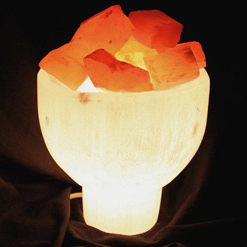 Selenite Fire Goblet Lamp