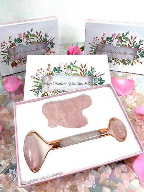 Rose Quartz Facial Roller & Gua Sha Massage Tool Kit