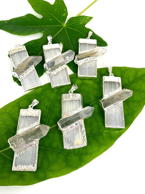 Selenite With Clear Quartz Electroplated Pendant