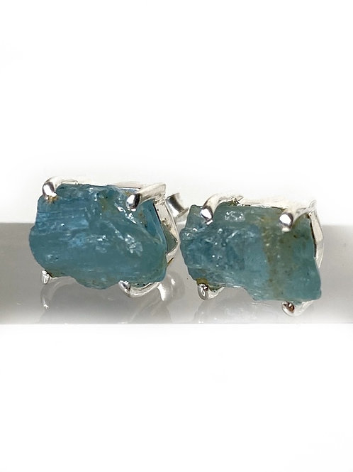 Aquamarine Stud Earrings 925 Sterling Silver