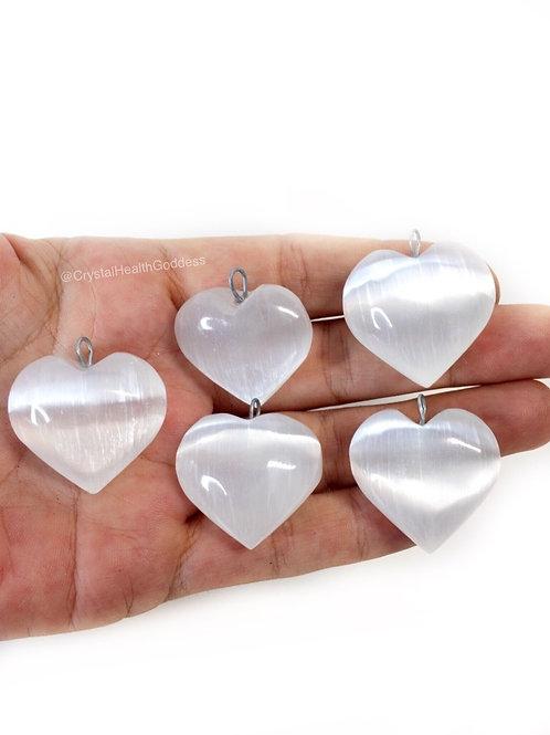 Selenite Heart Pendant Silver Bail