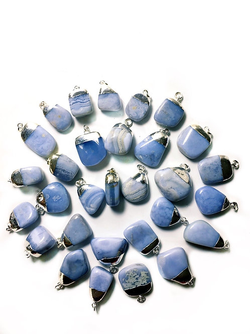 Blue Lace Agate Pendant Peaceful Calming Energy