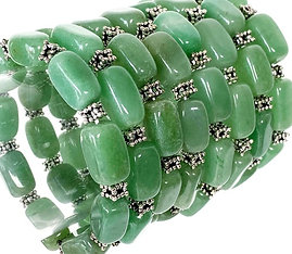 Green Aventurine Bracelet With Antique Silver Plated Spacers