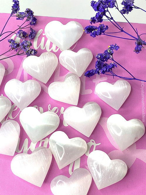 Selenite Carved Heart Palm Stone