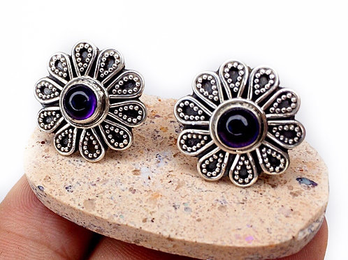 Amethyst Flower Earrings 925 Sterling Silver
