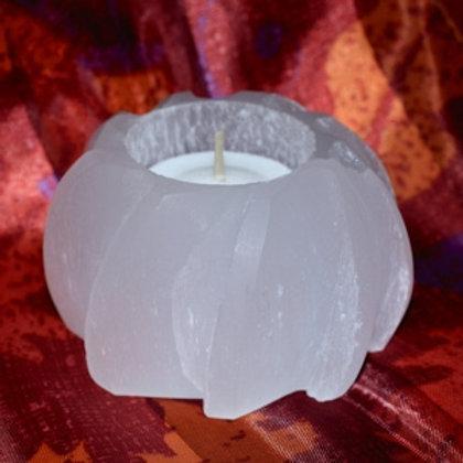 Selenite Carved Candle Holder