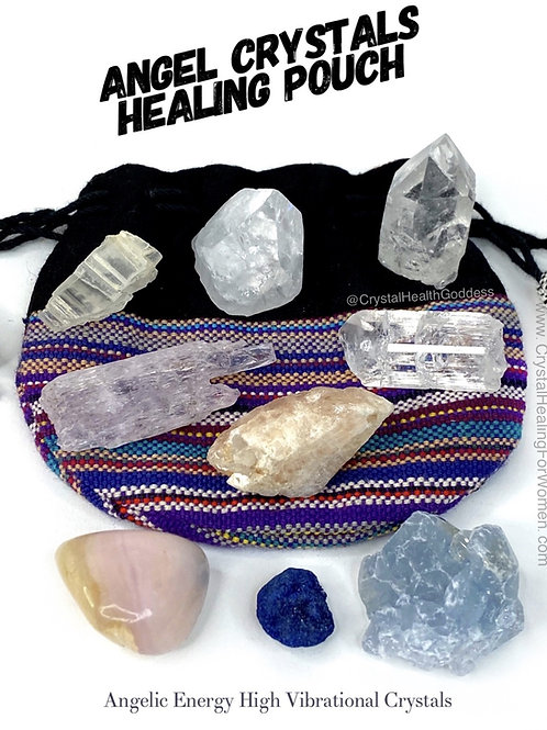 Angel Crystals Healing Pouch Angelic Energy High Vibrational Crystals