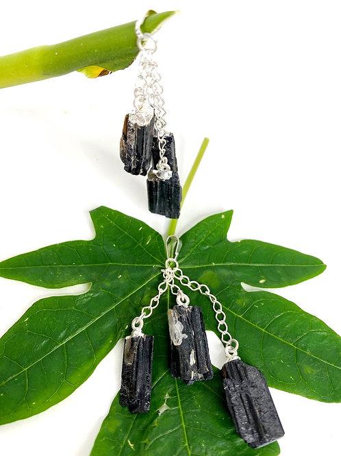 Black Tourmaline Tripple Stone Pendant