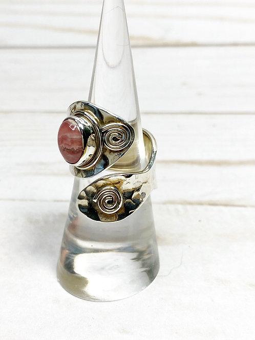 Rhodochrosite Open Design Ring Size 7