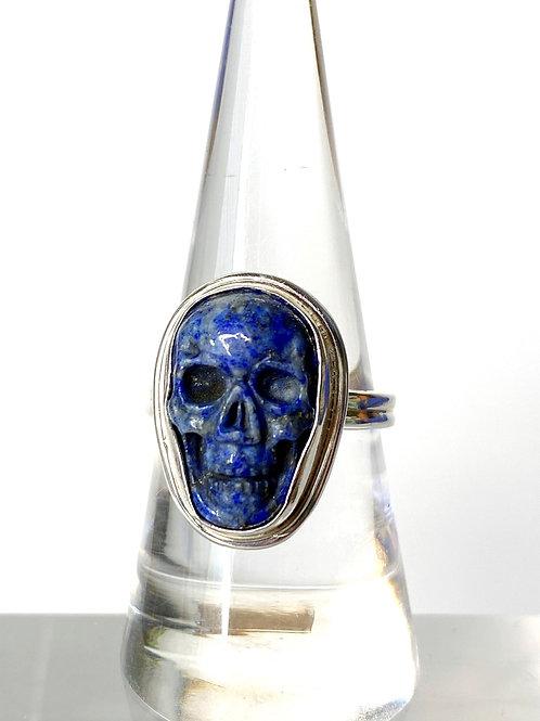 Sodalite Skull Ring  Set in 925 Sterling Silver Size 8