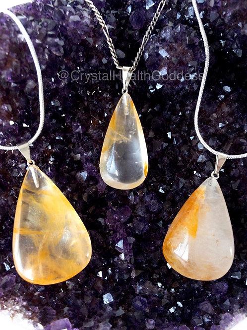 Golden Healer Quartz Pendant 925 Sterling Silver Chain Included