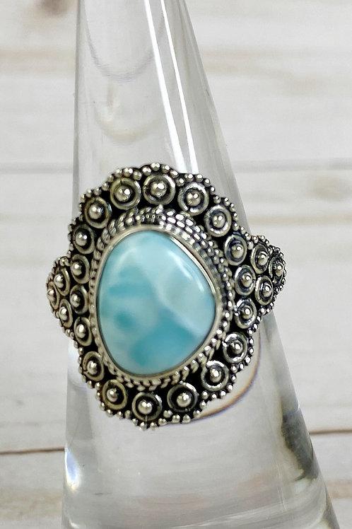 Genuine Larimar Ring 925 Sterling Silver Size 6