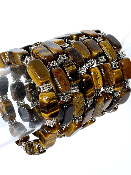 Tiger Eye Bracelet With Antique Silver Plated Spacers