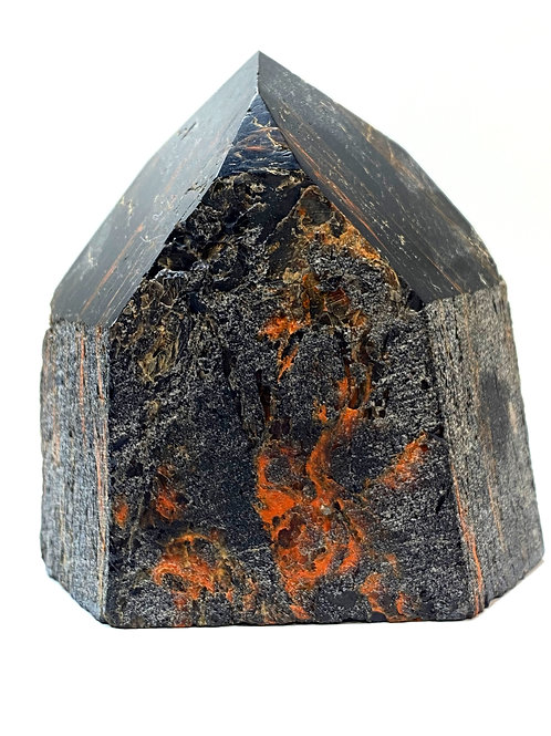 Black Tourmaline Rough With Red Hematite Generator Point 250g