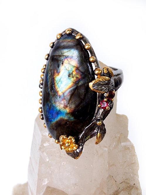 Labradorite Fine Art Ring 925 Sterling Silver Size 7.5