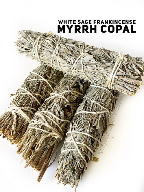 White Sage Frankincense Myrrh Copal Smudge Stick