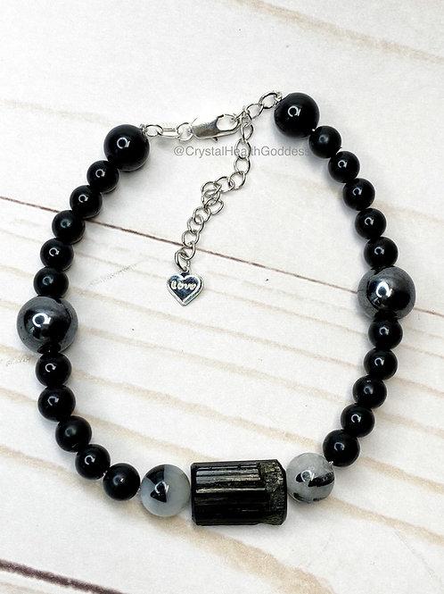 Shungite Bracelet EMF Protection 925 Silver Design #1