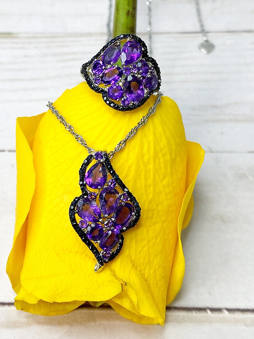 Amethyst Black Sapphire Fine Jewelry Set (Ring and Pendant)