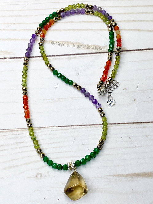 Faceted Gemstone Prosperity Necklace With Natural Citrine