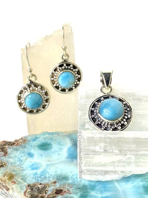 Larimar Genuine Earrings Pendant Set 925 Sterling Silver