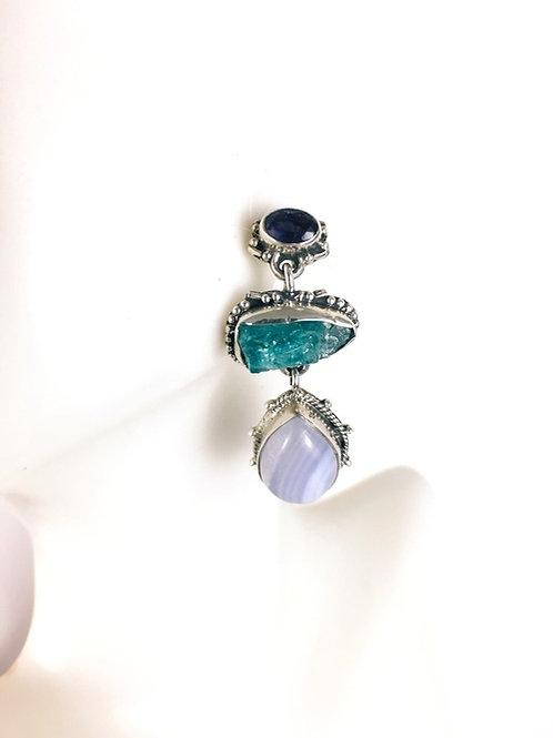 Amethyst Blue Lace Agate Apatite Earrings 925 Sterling Silver