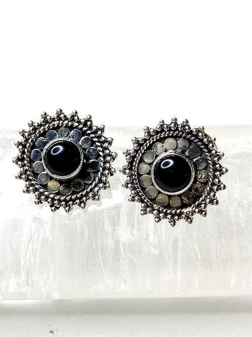 Black Onyx Earrings 925 Sterling Silver