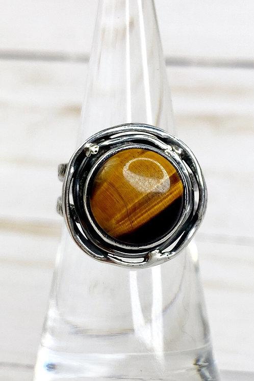 Tiger Eye Ring Flower Design. 925 Sterling Silver. Size 6.5