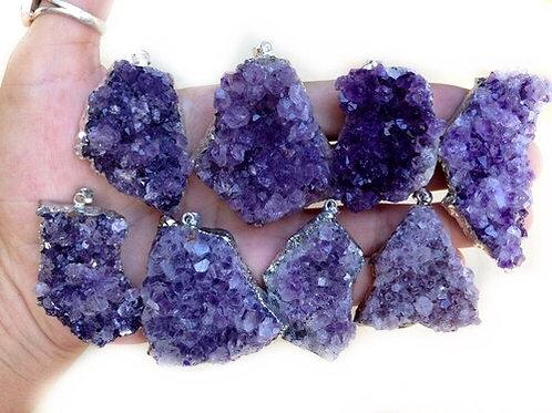 Amethyst Cluster Pendant *Deep Purple*
