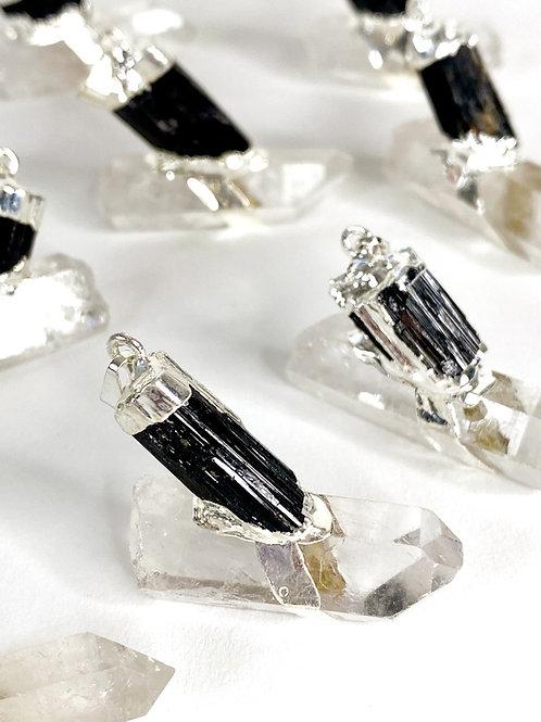 Black Tourmaline With Quartz Electroplated Pendant