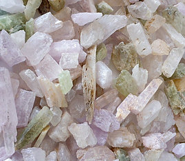Kunzite Crystals Multicolor Rough Natural